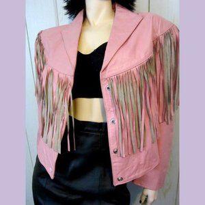 80s VTG Pink Fringe Western Rocker Leather Jacket